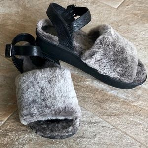 All Black Footwear Shearling Slingback's